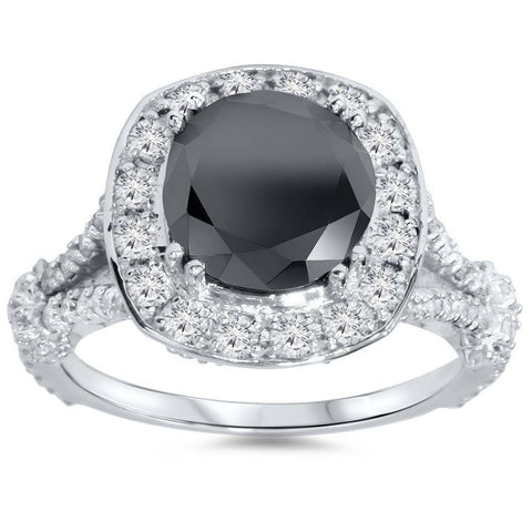 4ct Black REAL Diamond Cushion Vintage Engagement Ring 14K White Gold