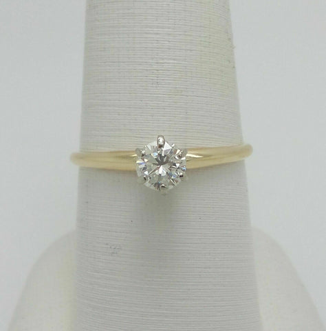 1/2CT Round Diamond Solitaire Engagement Wedding Ring 14K Yellow Gold