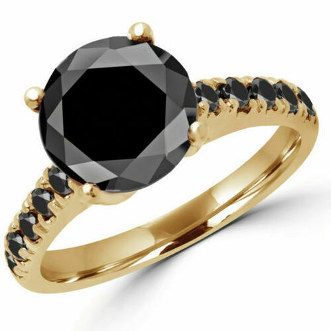 3.00 Ct Round Cut Genuine Black Diamond Engagement Ring Solid 10k Yellow Gold