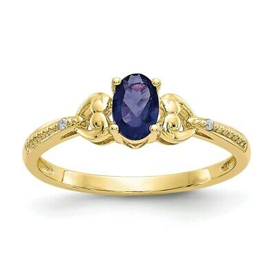 Real Oval Sapphire Diamond Ring 10K Yellow Gold September Birthstone Jewelry