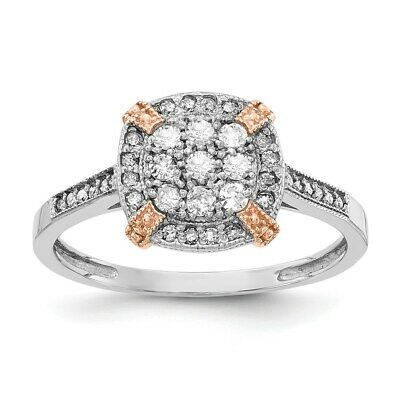 Real 1/3Ct. Diamond Engagement Ring in 10K White and Rose Gold