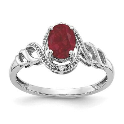 Real 7x5mm Oval Ruby & Diamond Ring 10K White Gold - July Birthstone Jewelry