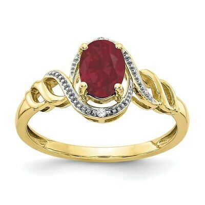 10K Yellow Gold 7x5mm Natural Ruby Diamond Ring - July Birthstone Fine Jewelry