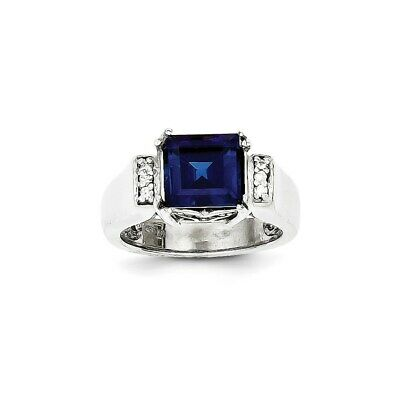 Diamond & Created 8x8mm Princess Cut Sapphire Ring 10K White Gold Fine Jewelry