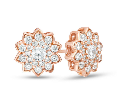 1200 دولار 1 قيراط. REAL Diamond Flower Stud Earrings 8K / 10K Yellow White or Rose Gold