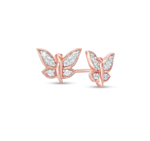 $323 1/6 CT. T.W. Diamond Butterfly Stud Earrings in 10K Rose Gold