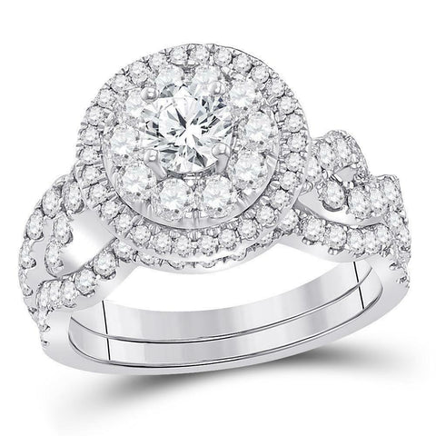 2 Ct Real Diamond Halo Engagement Wedding Bridal Ring Set in 10K White Gold