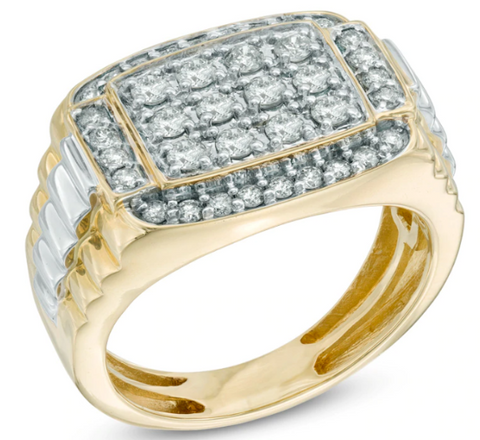 $1518 Men's 1 CT Diamond Rectangular Anniversary Ring in 10K Two-Tone Gold