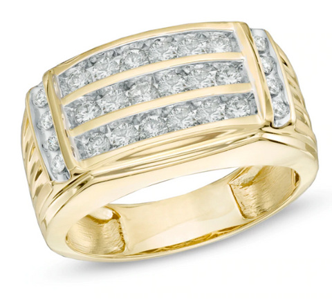 $2064 Men's 1 CT. T.W. REAL Diamond Three Row Ring in 14K Yellow Gold