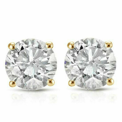 .40Ct Round Brilliant Cut Natural Genuine Diamond Stud Earrings In 14K Gold