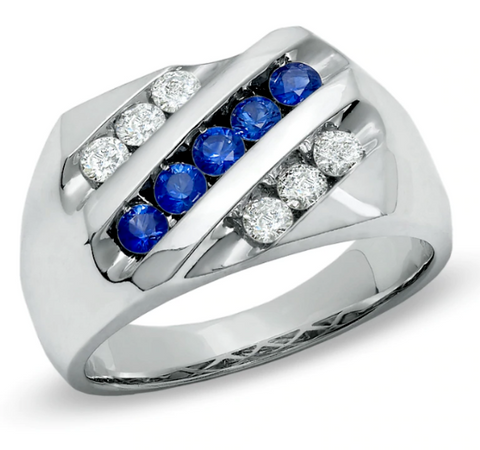 $2000 Men's 1/2 CT.Diamond & Blue Sapphire Slant Band in 14K White Gold