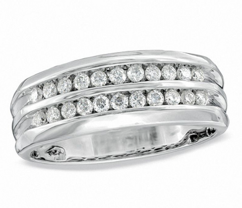 $1000 Men's 1/2 CT. Diamond Double Row Anniversary Band 10K White Gold