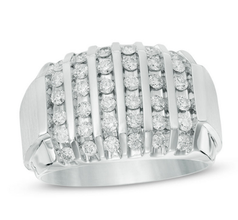 $2329 Men's 1 CT. T.W. Diamond Vertical Multi-Row Ring in 10K White Gold