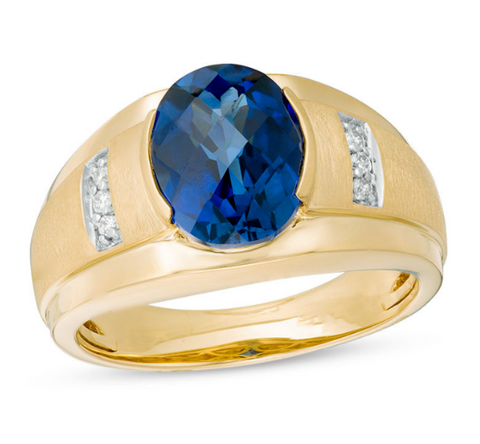 Men's Oval Lab-Created Blue Sapphire & Diamond Collar Ring 10K Gold