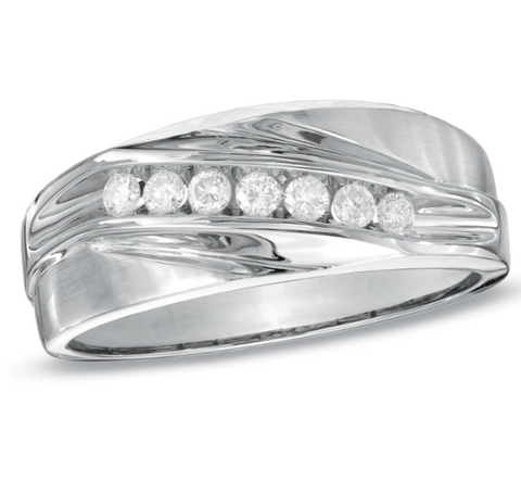 $800 Men's 1/4 CT. Diamond Seven Stone Wedding Band in 10K White Gold