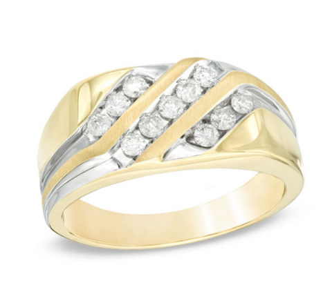 $1000 Men's 1/2 CT. T.W. Diamond Three Row Slant Band in 10K Gold