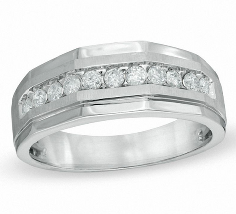 $1870 Men's 1 CT. Diamond Wedding Band Ring in 10K White Gold