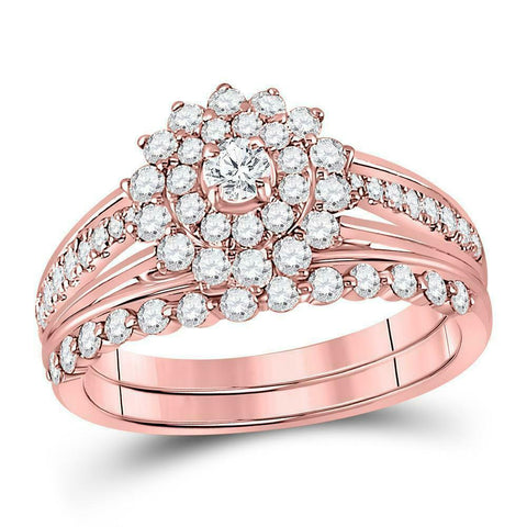 1 Carat Round Diamond Floral Halo Engagement Wedding Ring Set 14K Rose Gold