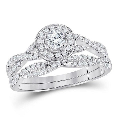 1.0ct Infinity Halo Solitaire Diamond Engagement Wedding Ring Set 10K White Gold