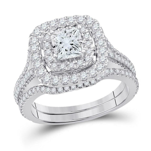 2 Carat Princess Diamond Cushion Halo Engagement Wedding Ring Set White Gold