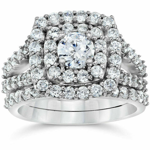 CERTIFIED 2 Carat Diamond Cushion Halo Engagement Wedding Ring Set White Gold