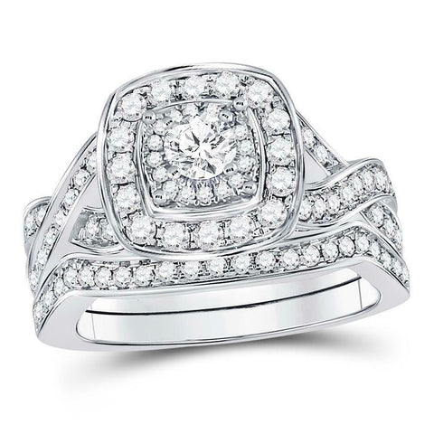 1.0ct Cushion Halo Solitaire Diamond Engagement Wedding Ring Set 10K White Gold