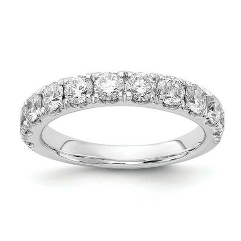 1.50 Ct Certified Real Diamond Half Eternity Wedding Band Ring in 14K White Gold