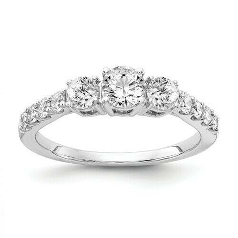 1.0Ct Certified Real Diamond Three Stone Engagement Ring in 14K White Gold