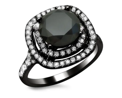 NEW 2 1/2ct Certified Double Halo Black & White Diamond Ring 14k Black Gold