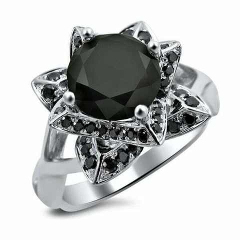 14k White Gold 3ct TDW Black Diamond Lotus Flower Round Engagement Ring