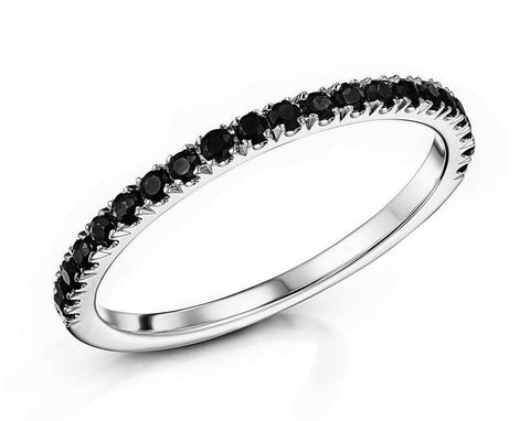 1/5ct Black Diamond Prong Set Half Eternity Wedding Band Ring 14K White Gold
