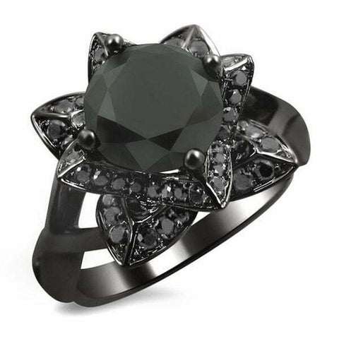 Certified NEW 2 1/3ct TDW Black Diamond Lotus Engagement Ring in 14k Black Gold