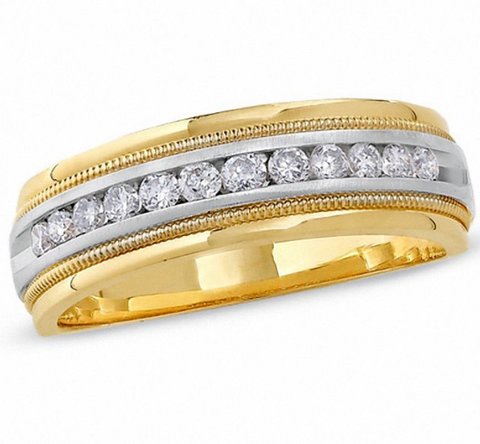 $1500 Men's 1/2 CT. Diamond Channel Milgrain Band in 14K Two Toned Gold