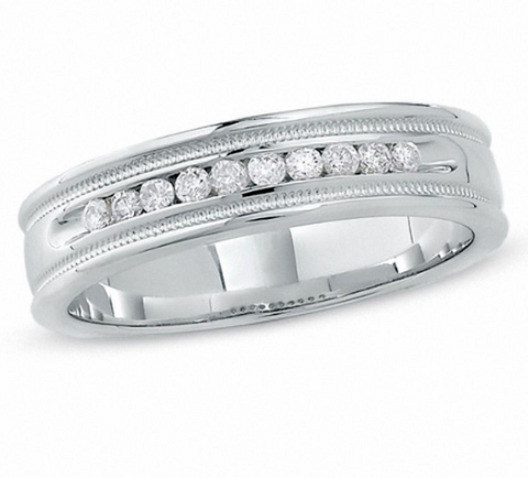 $1000 Men's 1/4 CT. T.W. Diamond Channel Milgrain Band in 14K White Gold