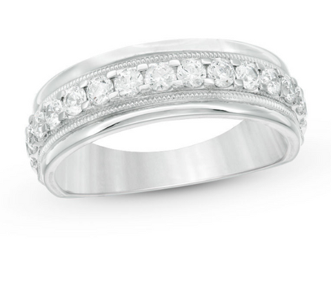 $1500 Men's 1 CT. Diamond Vintage-Style Wedding Band in 10K White Gold