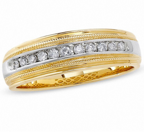 $1000 Men's 1/4 CT. Diamond Channel Milgrain Band in 14K Two-Tone Gold