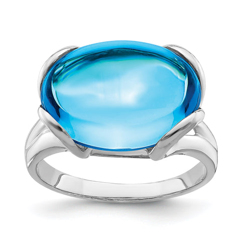 Sterling Silver Rhodium Oval Blue Topaz Gemstone Birthstone Ring Fine Jewelry Gift for Her