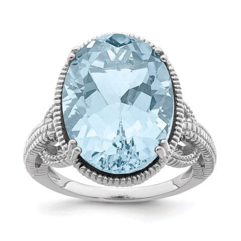 Sterling Silver Rhodium Sky Blue Topaz Gemstone Birthstone Ring Fine Jewelry Gift for Her