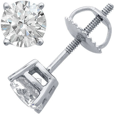 1 Carat 14k White Gold Four-Prong Diamond Stud Earrings
