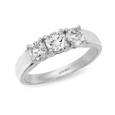 1 ct. Round Cut Diamond White Gold Three-stone Engagement Ring