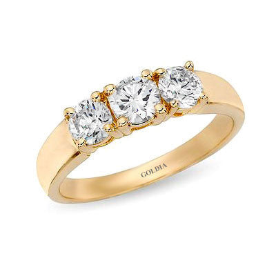 1 ct. Round Cut Diamond Yellow Gold Three-stone Engagement Ring