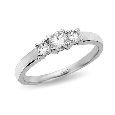 1/2 ct. Round Cut Diamond White Gold Three-stone Engagement Ring