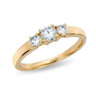 1/2 ct. Round Cut Diamond Yellow Gold Three-stone Engagement Ring