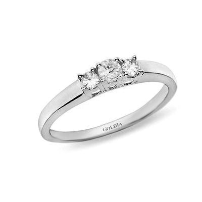 1/4 ct. Round Cut Diamond White Gold Three-stone Engagement Ring