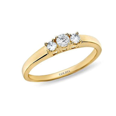 1/4 ct. Round Cut Diamond Yellow Gold Three-stone Engagement Ring