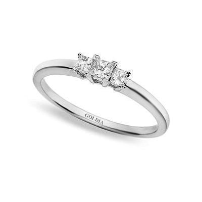 1/4 ct. Princess Cut Diamond White Gold Three-stone Engagement Ring