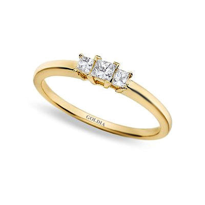 1/4 ct. Princess Cut Diamond Yellow Gold Three-stone Engagement Ring