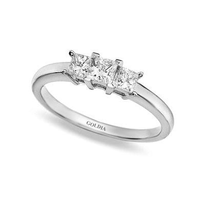 1/2 ct. Princess Cut Diamond Platinum Three-stone Engagement Ring