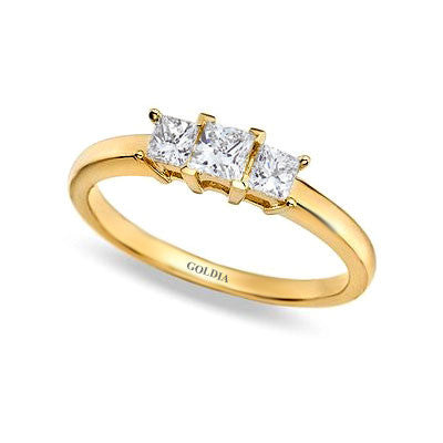 1/2 ct. Princess Cut Diamond Yellow Gold Three-stone Engagement Ring