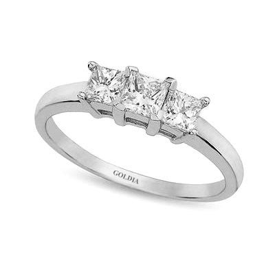 1 ct. Princess Cut Diamond Platinum Three-stone Engagement Ring